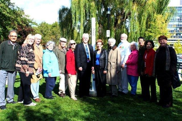 Dedicating the Peace Pole at City Hall